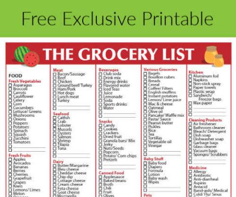 Free Grocery List -Printable