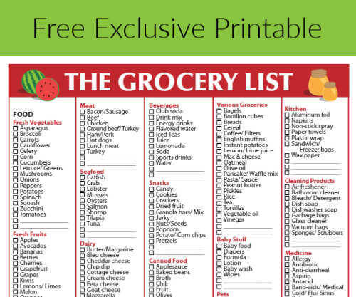 Free Grocery List -Printable