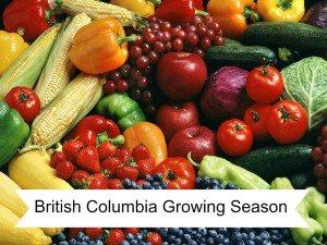 British Columbia Growing Season of Fruits & Vegetables