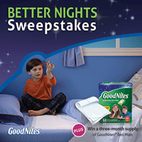 GoodNites Contest Win $5000 Gift Card + 3 Months Supply of Bed Mats