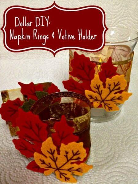 Fall Themed Napkins Rings & Votive Holder
