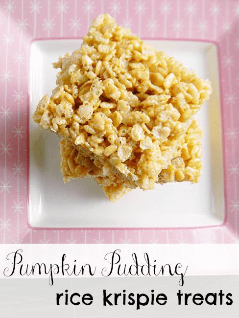 Pumpkin Pudding Rice Krispie Treats