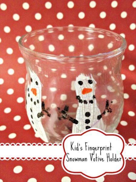 DIY Kid's Fingerprint Snowman Votive Holder