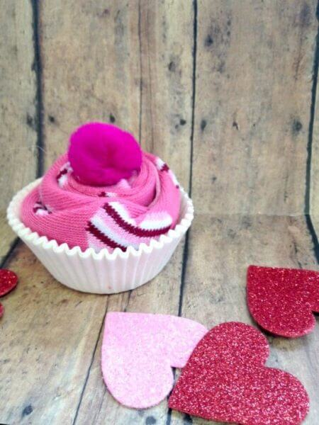 DIY Valentine's Day Sock Cupcakes