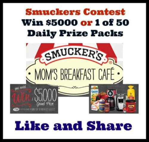 Smuckers Contest To Win $5000 Or 1 of 50 Daily Prizes
