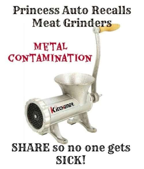 Princess Auto Recalls Kitchener Manual Meat Grinders