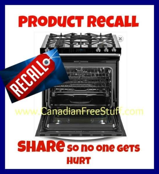 Electrolux Canada Recalls Kenmore And Frigidaire Ranges!!