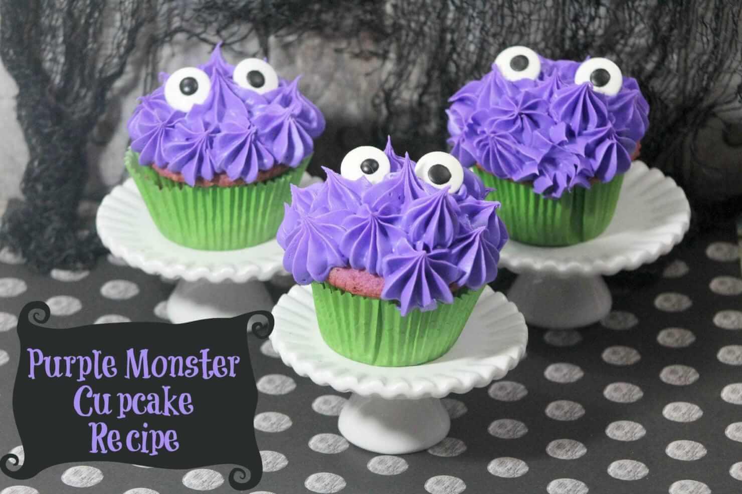 Halloween Purple Monster Cupcake Recipe