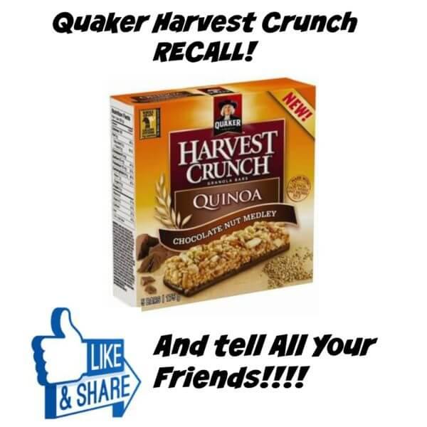 Quaker Harvest Crunch Recall Due to Listeria – Important!!