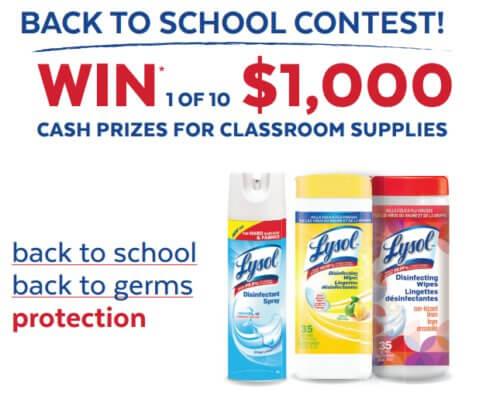 Lysol Contest: Win 1 of 10  $1000 Cash