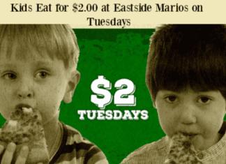 Eastside Marios Kids Eat on Tuesdays for $2.00
