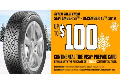 Continental Tire Rebate: FREE $100 Visa Prepaid Gift Card