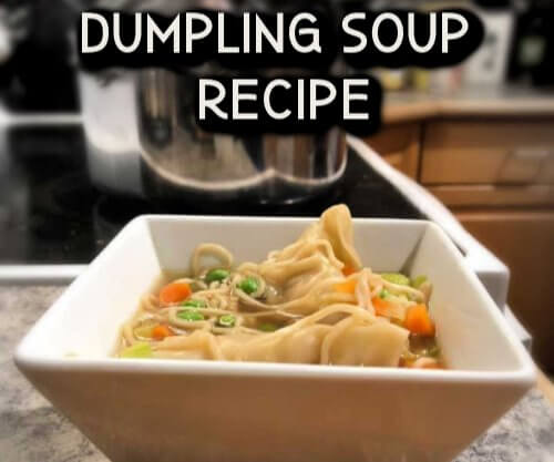 Potsticker soup recipe - easy and frugal! Use up extra stuff in this yummy soup in under 20 minutes #asian #dumplings #ichiban #frozen Veggies #