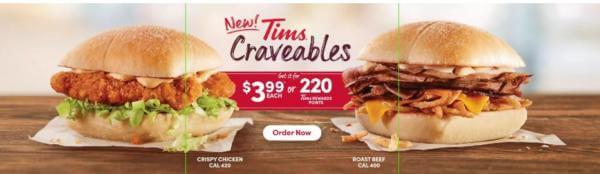 Tim Hortons Cravable Roast Beef Sandwich