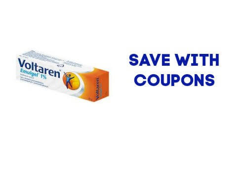 Voltaren box with the words save with coupons in Canada