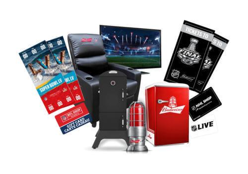 Budweiser Contest prizes including budweiser fridge
