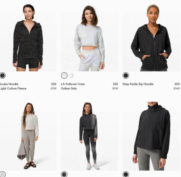 Lululemon Sale on Women's clothing including hoodies and pull overs