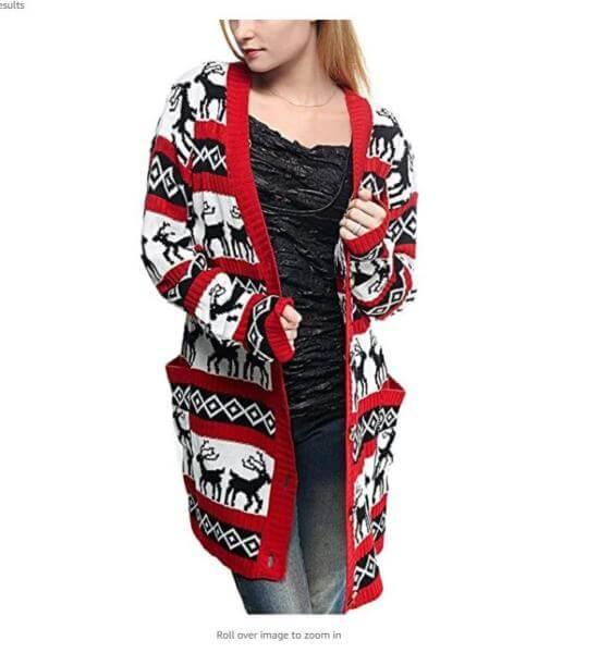 Reindeer Cardigan Ugly Sweater