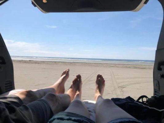 sleeping in a jeep or van