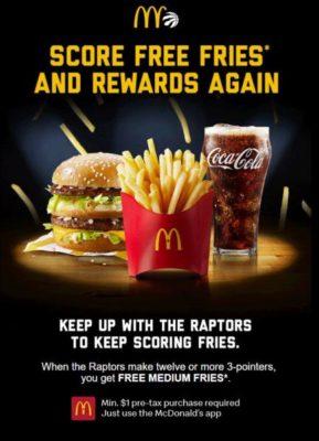 Free fries when Raptors score in Ontario and atlantic provinces