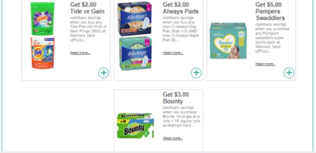 Walmart & PG product Cash Back