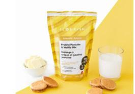 Flourish pancakes package with pancake mix