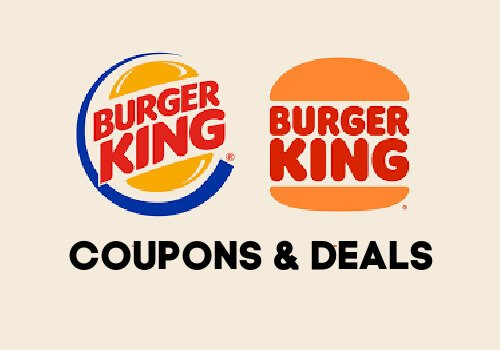 Burger king logos with words coupons and deals