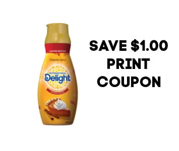 Pumpkin International Delight coffee creamer with words Save $1.00 print coupon